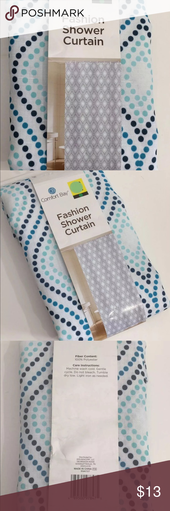 Comfort Bay Shower Curtain Fabric Blue White Nwt Fabric Shower