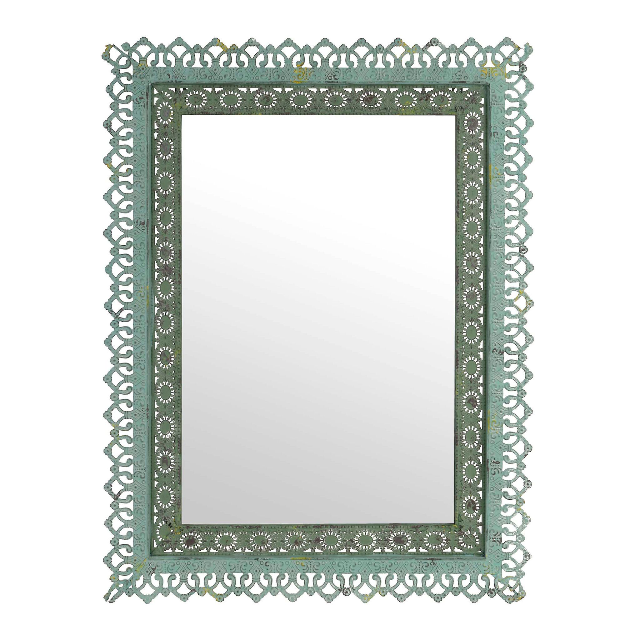 Adele Distressed Green Framed Mirror 25x33 In Mirror