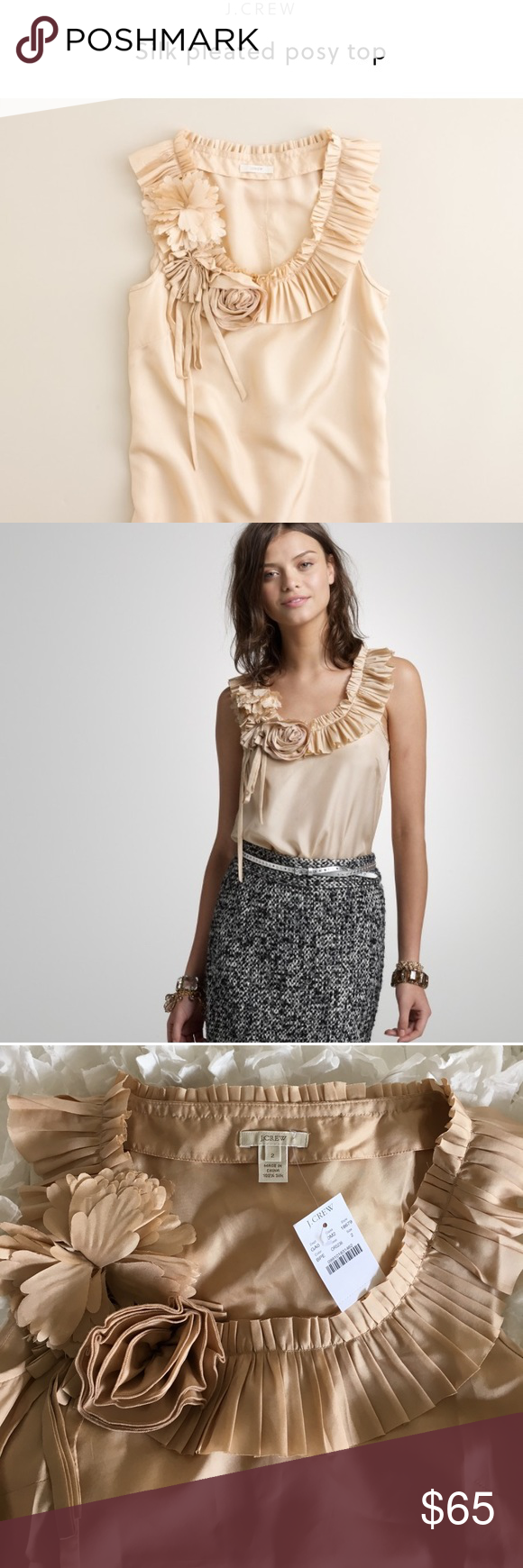 76706b1f276b J. Crew Silk Pleated Posy top More than just a layer—pristine pleating and  a beautifully crafted bouquet surround the neckline of this standout silk  tank.