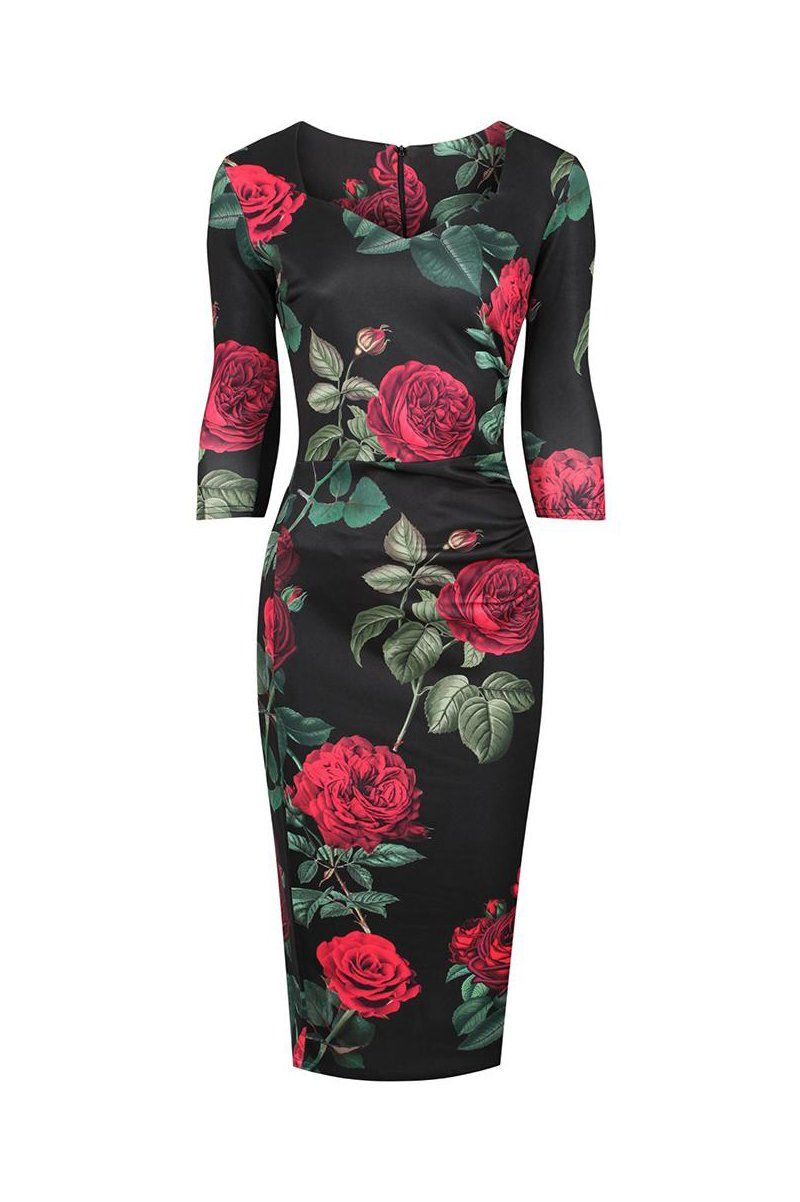 Black Red Rose Floral Print 3 4 Sleeve Bodycon Pencil Dress Dresses Pencil Dress Vintage Style Dresses [ 1202 x 800 Pixel ]