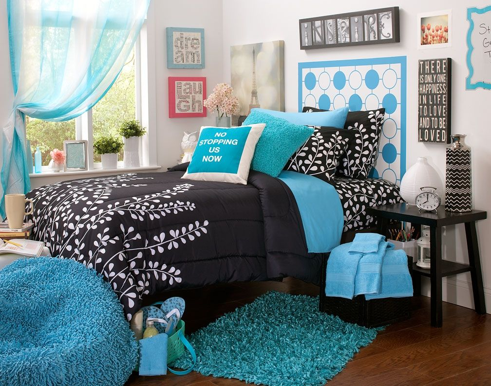 Black And Teal Themes Black White And Aqua Bedroom Ideas Bedroom