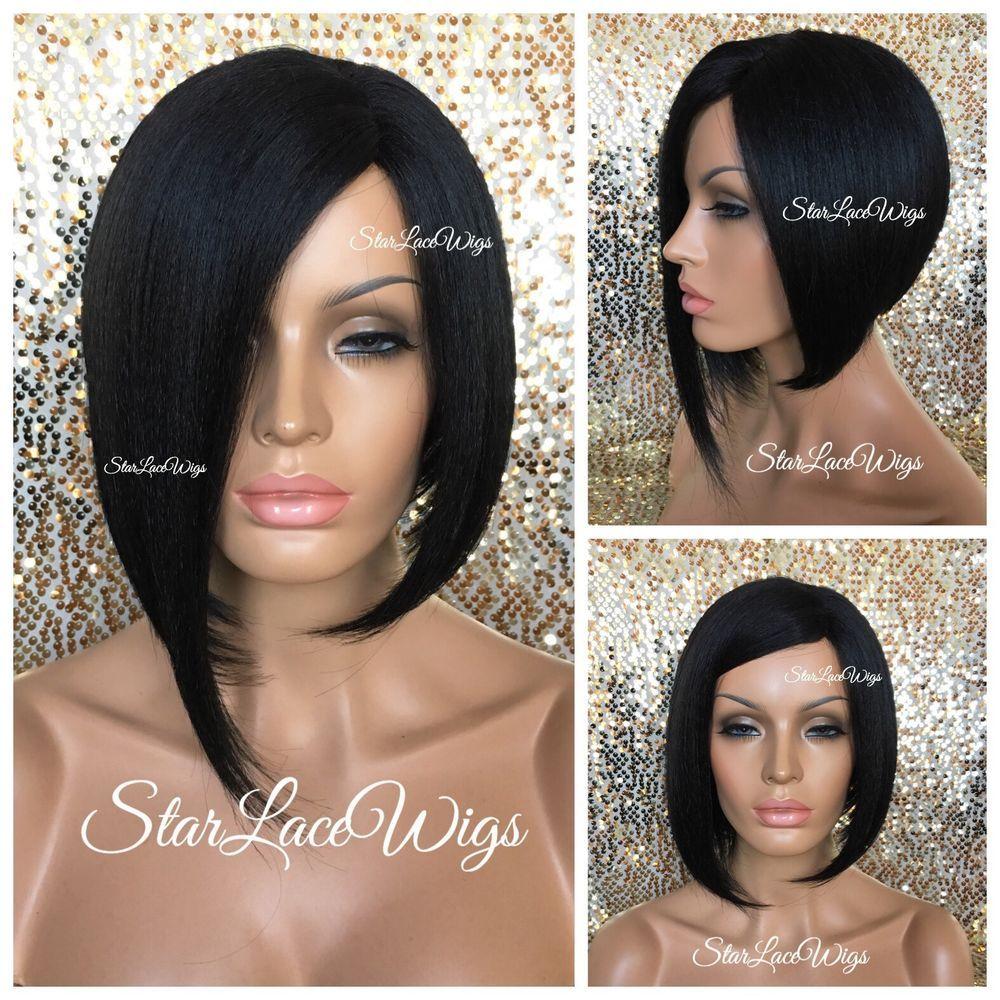 Details about short straight asymmetrical bob full wig b off black