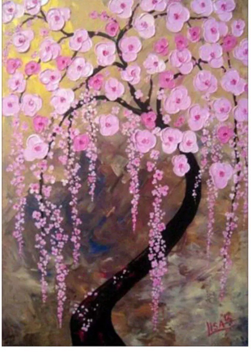 Excited To Share This Item From My Etsy Shop Us Seller Large Weeping Cherry Tree Blossoms 5d Diamond Painting Ar Tree Art Art Painting Oil Painting Trees