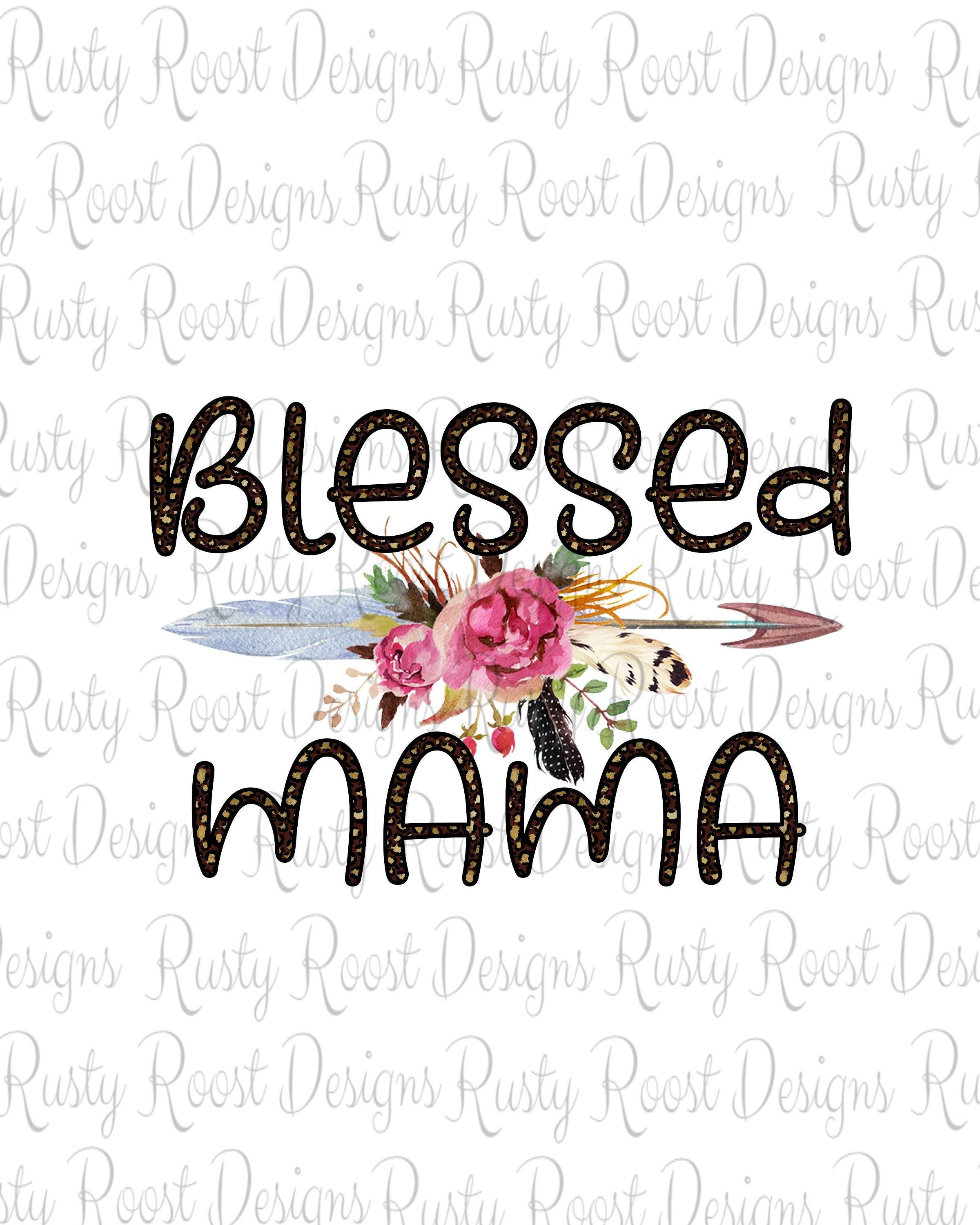 floral mom t-shirt transfer blessed mama floral sublimation Transfer digital heat cotton t-shirt ready To press transfer