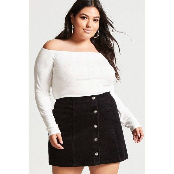 b5c7f4f986606 Forever21 Plus Size Corduroy Mini Skirt ( 18) ❤ liked on Polyvore featuring plus  size women s fashion