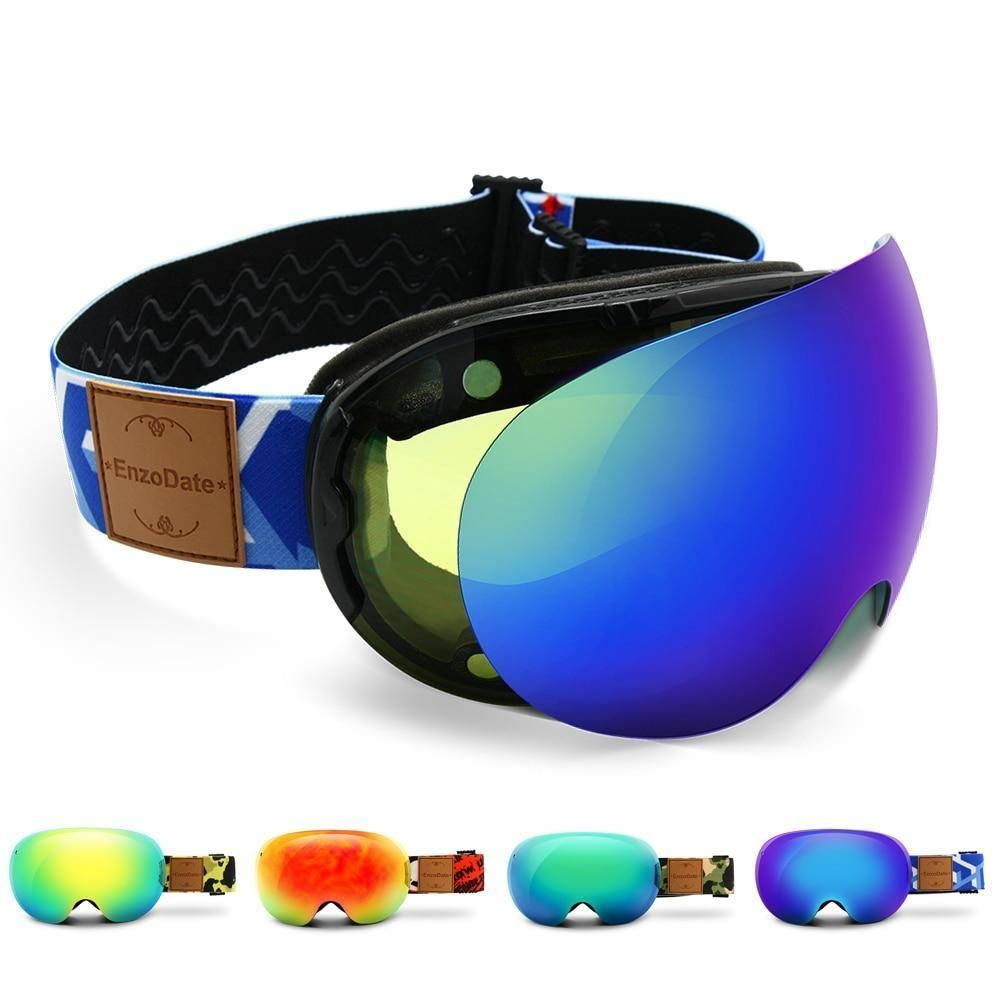 b5ba556373f Enzo LY49 Ski Goggles 2 in 1 with Magnetic Dual Lens Night Skiing Anti-Fog