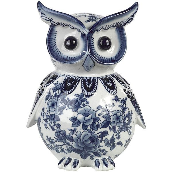Pols Potten Porcelain Piggy Bank Blue White Owl 55 Liked On Polyvore Featuring Home Decor Small Item Storage And