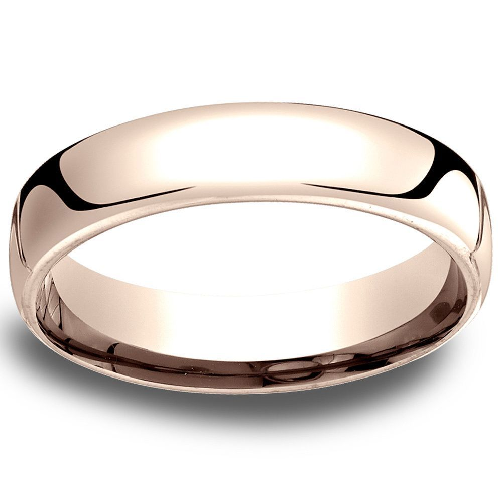 14k Rose Gold Low Dome 55mm Comfort Fit Wedding Band