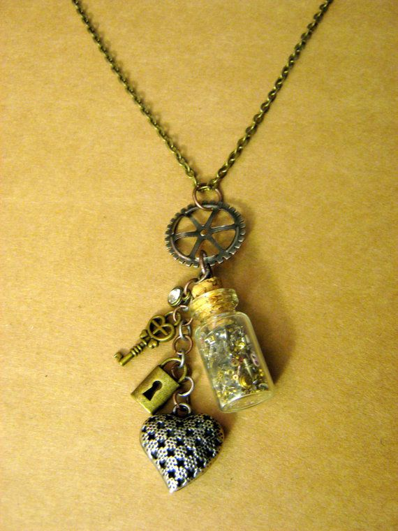 "STEAMPUNK CHARM NECKLACE // Bronze 18"" Nickel Free Chain // Bottle of Gears, Steampunk Heart, Bronze Lock and Key Charms, Dull Silver Gear"