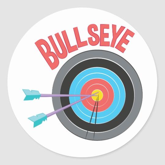 Bullseye Classic Round Sticker Zazzle Com Round Stickers Create Custom Stickers Bullseye