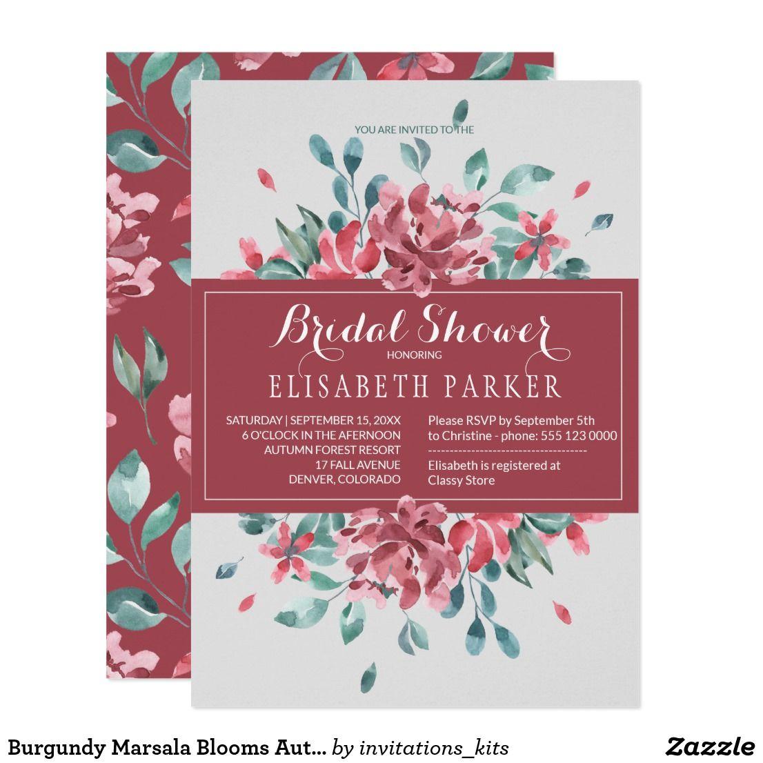 Burgundy Marsala Blooms Autumn Bridal Shower Invitation | Beautiful ...
