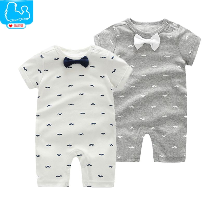 New Born Baby Clothes Cotton Baby Girl Rompers Bow Tie Short Sleeve Baby Boy Romper One Pieces Roupa Bebe Recem Nascido Roupa Infantil Menino Pano De Boca Bebe