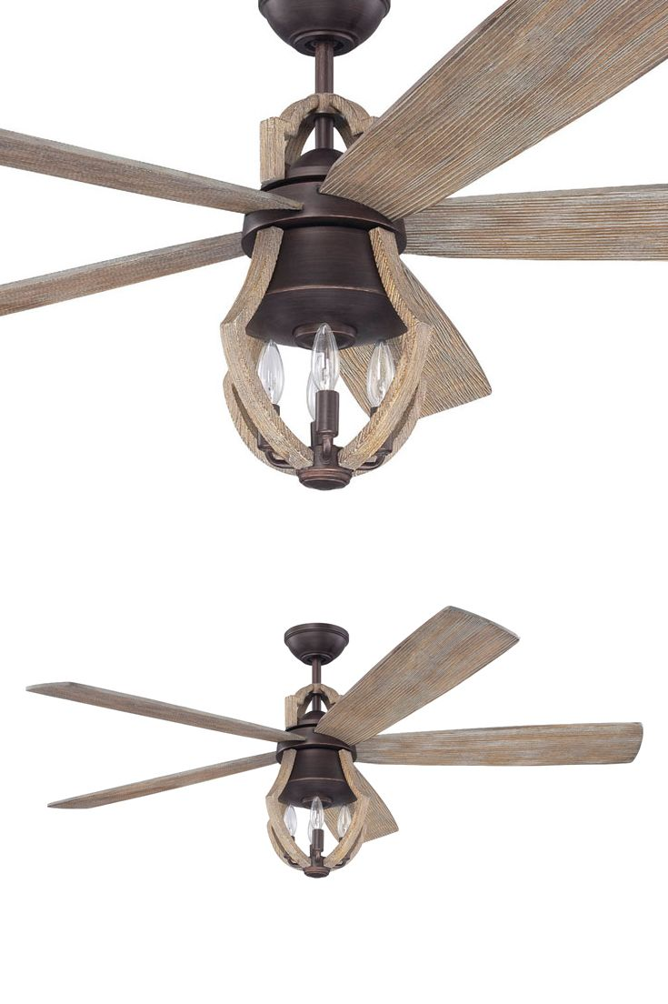 Weathered pine blades and matching accents around a slender housing in a rich aged bronze finish give the winton a rustic elegance like no other fan
