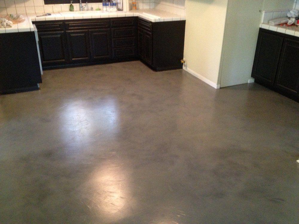 Interior Concrete Floor Overlay Black With Grey Stain