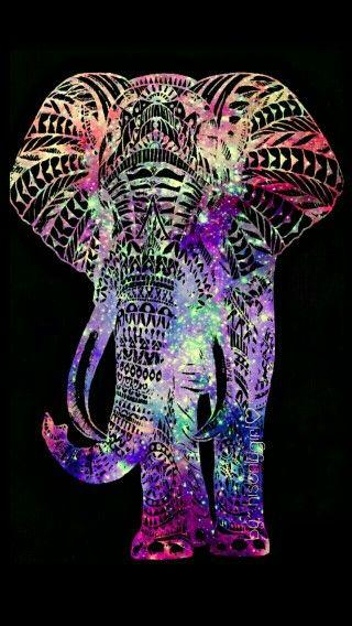 Rainbow hipster elephant Elephant phone wallpaper