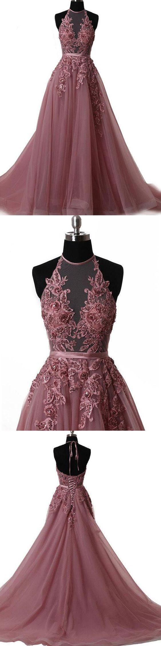 long prom dress halter brush train simple lace prom dress