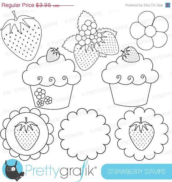 40 OFF SALE strawberry digital stamp by Prettygrafikdesign on Etsy, #colouring #line art
