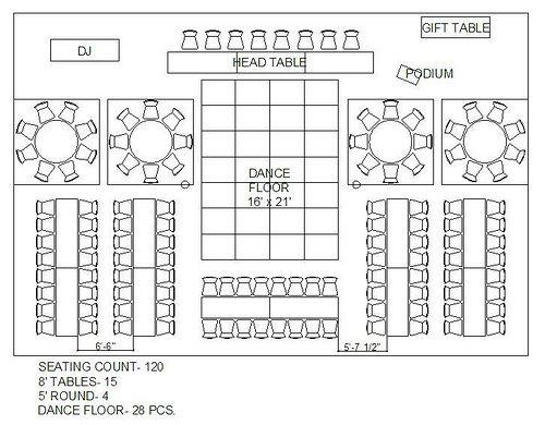 rectangle and circle wedding reception floor plan