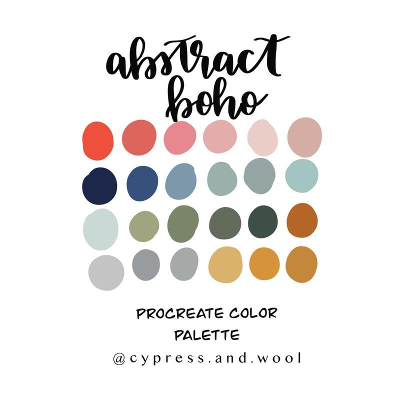 Abstract Boho Color Palette Procreate Palette Procreate Etsy Color Psychology Color Palette Design Color Palette