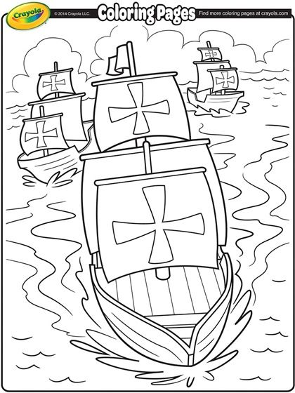 Columbus Day Coloring Page | Homeschol US history | Pinterest ...