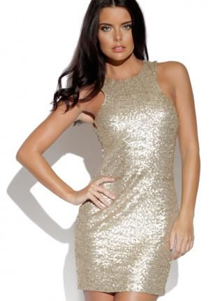 29267fd9 Gold Sequin Sleeveless Bodycon Mini Dress with Racerback, Dress, mini dess sequin  dress, Chic