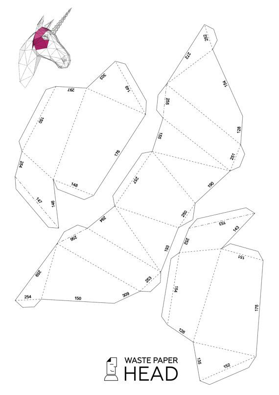 Papercraft unicorn head printable DIY template by WastePaperHead - loose leaf paper template