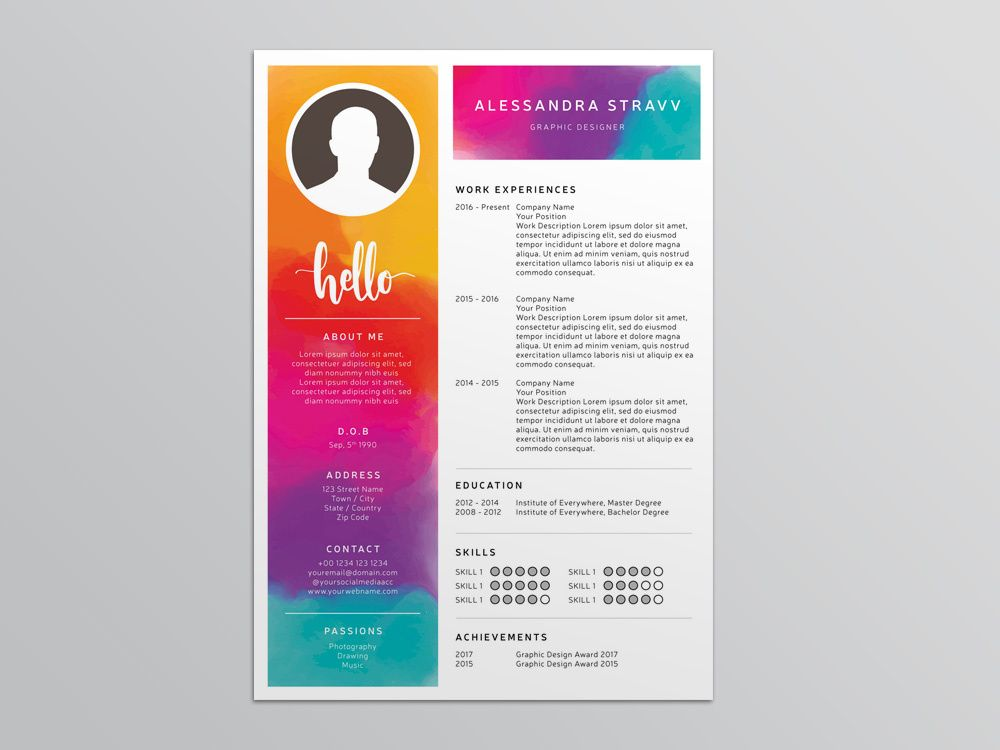 Free Colorful Resume Template For Job Seeker Resume Template Resume Resume Template Free