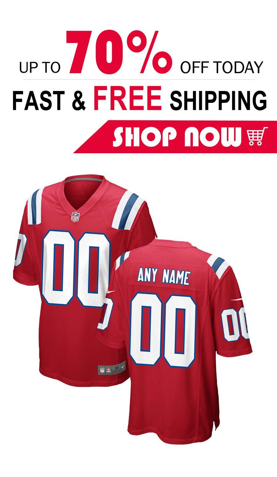 New England Patriots Nfl Pro Line Team Color Custom Jersey Red Men Jersey Custom Football Football Jerseys