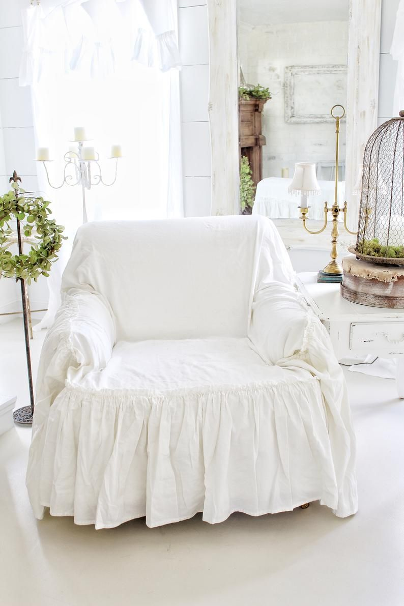 Ruffled Chair Cover Chair Scarf Chair Throw Slip Cover Linen Slip Cover Recover Couch Farmhouse Decor Cottage Chic In 2020 Ruffled Chair Covers Slipcovers For Chairs Slipcovers #seat #covers #living #room