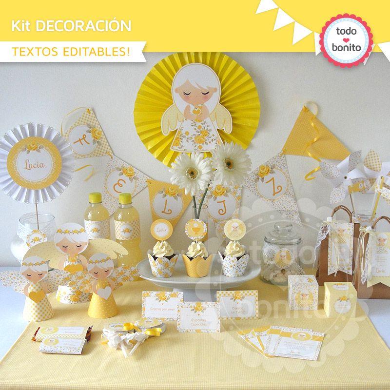 Decoraci n de primera comuni n ni as en amarillo party for Fiestas comunion decoracion