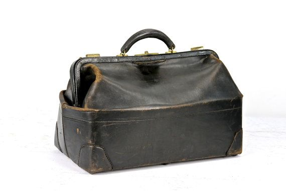 Leather Doctor Bag Old Medical Antique By Huntandfound