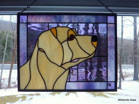Stained Glass Panel Labrador Retriever Panel by WildwindsGlass
