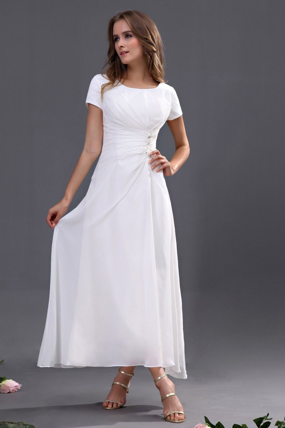 White chiffon ankle length bridesmaid dress simple but would work white chiffon ankle length bridesmaid dress simple but would work for a less formal wedding ombrellifo Image collections