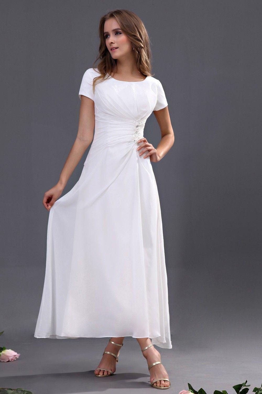 White chiffon ankle length bridesmaid dress simple but would work white chiffon ankle length bridesmaid dress simple but would work for a less formal wedding ombrellifo Choice Image