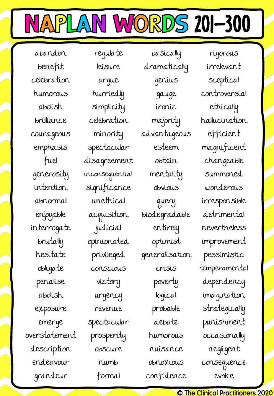 Naplan Word Poster 201 300 Spelling Words Word Poster Words [ 1340 x 928 Pixel ]