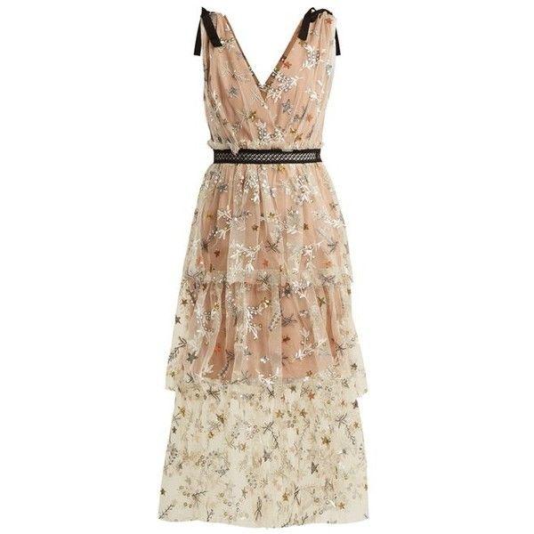 Self-portrait Star mesh midi-dress ($615) ❤ liked on Polyvore featuring