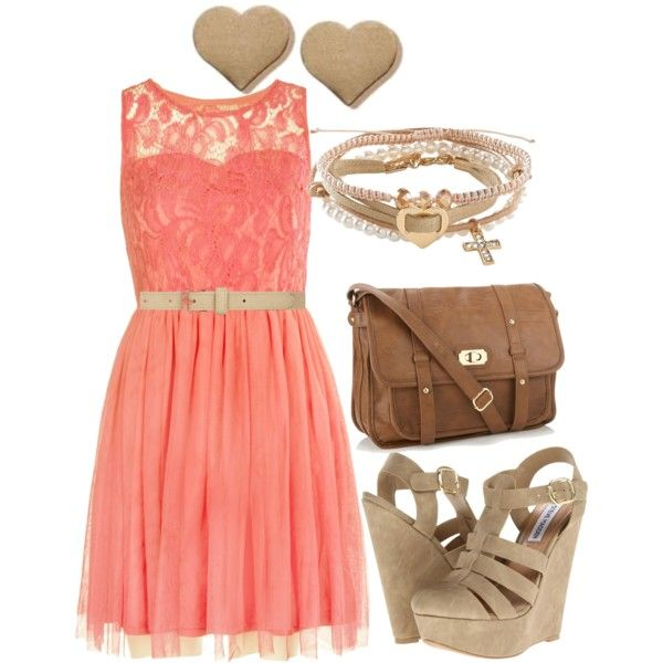coral summer dress w/ wedges