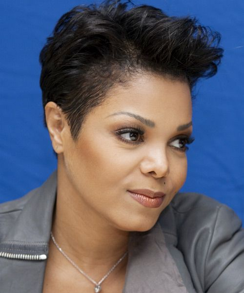Janet Jackson Short Straight Casual Pixie Hairstyle Black Hair Color Side View Short Hair Styles Short Natural Hair Styles Janet Jackson