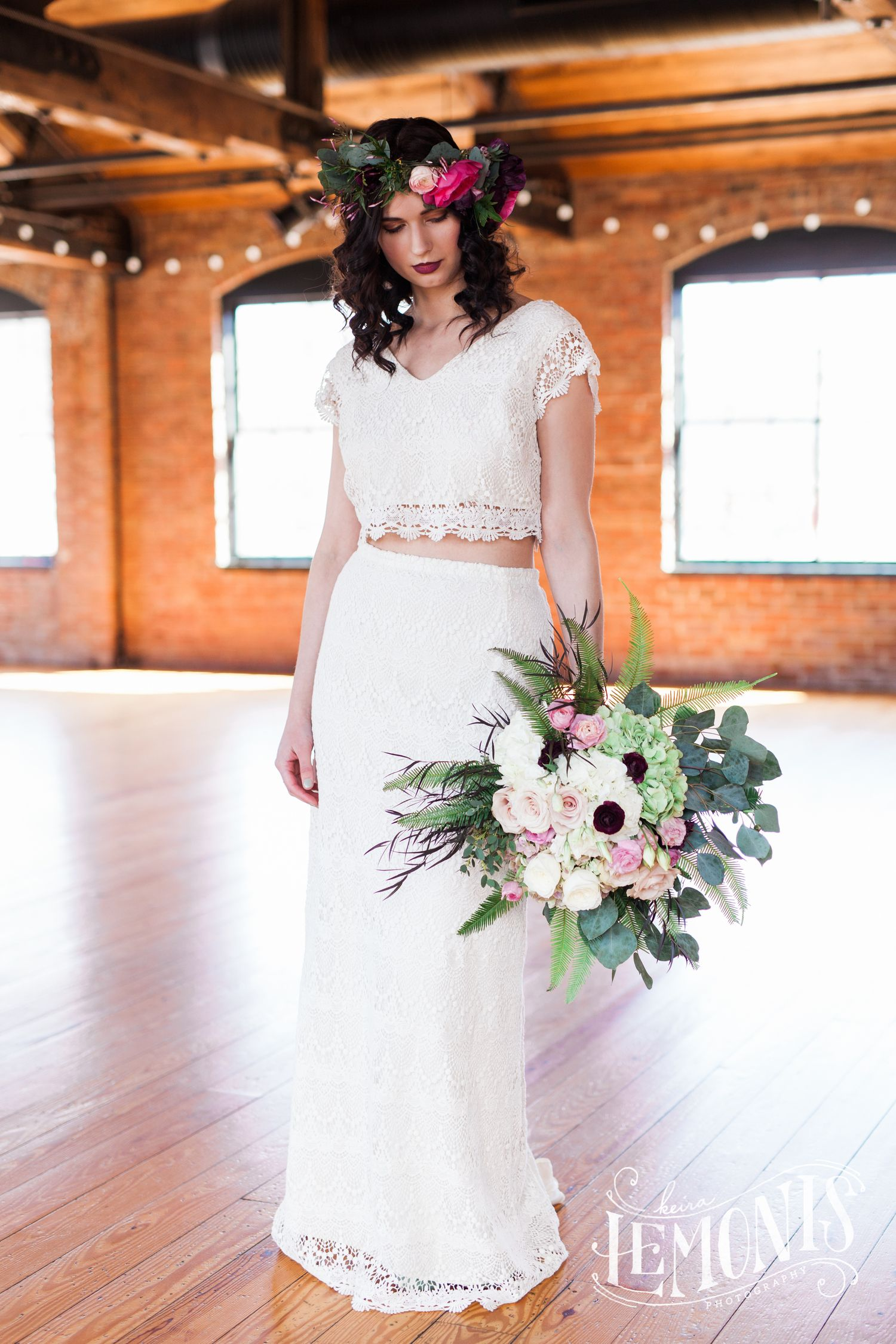 Bridal style inspiration shoot with true north bridal crop top two