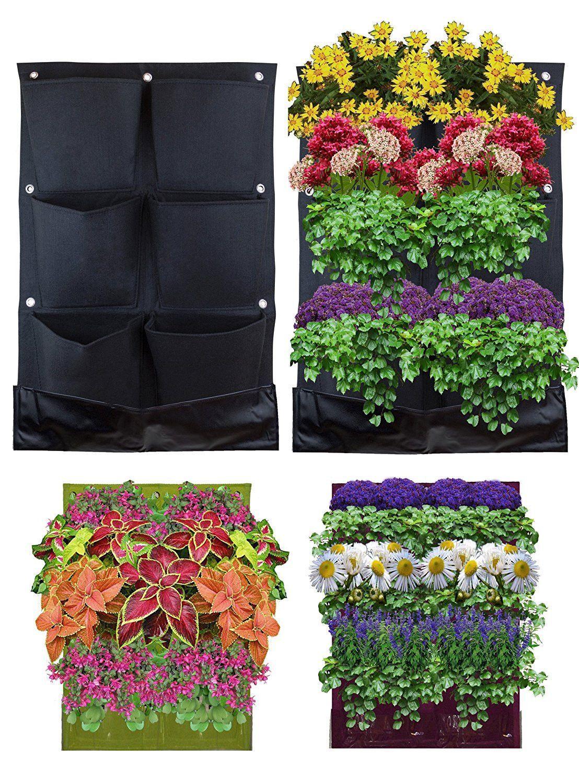 wall mount wide indoor outdoor vertical pocket planter on indoor herb garden diy wall vertical planter id=21109