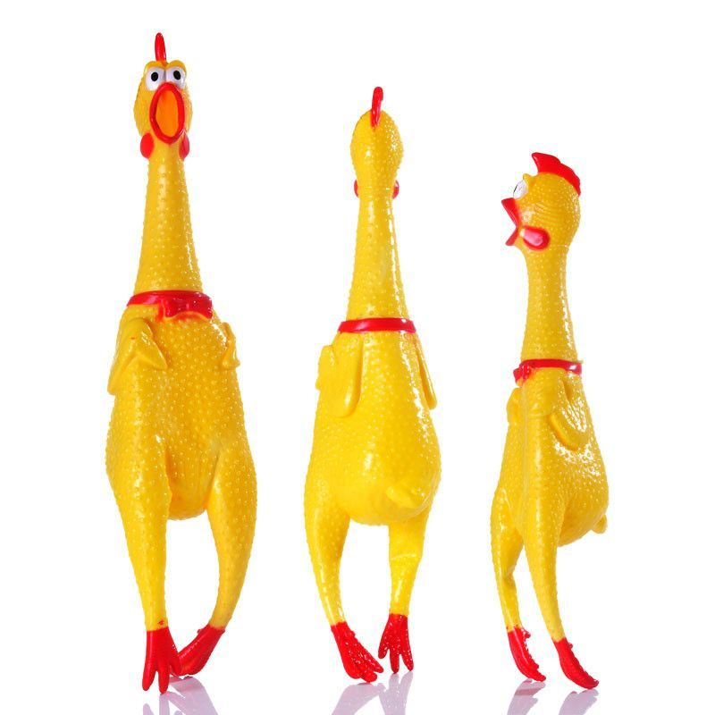 Small Size Yellow Mini Screaming Rubber Chicken Dog Toy 7 Inches