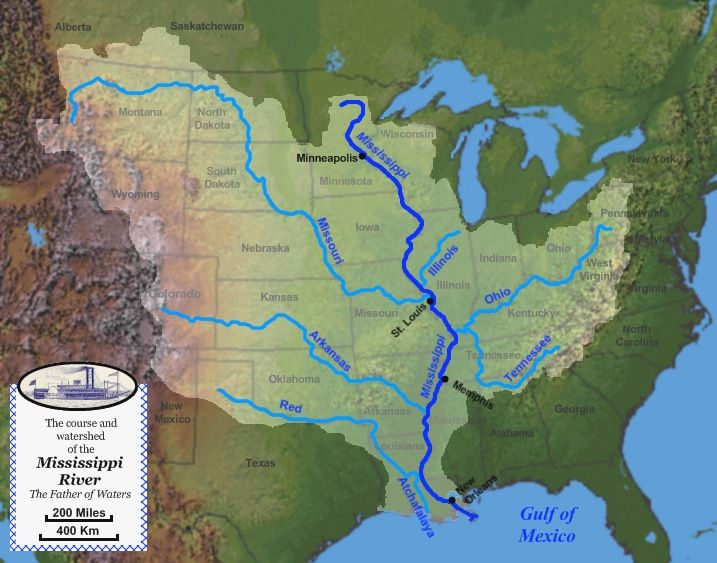 image result for map of mississippi river into gulf of mexico