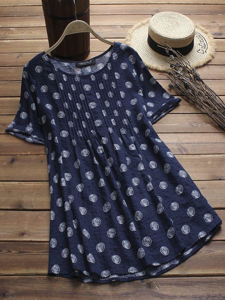 0456e8de8085 Polka Dot Print Pleated Short Sleeve O-neck Vintage Blouses | Lady's ...