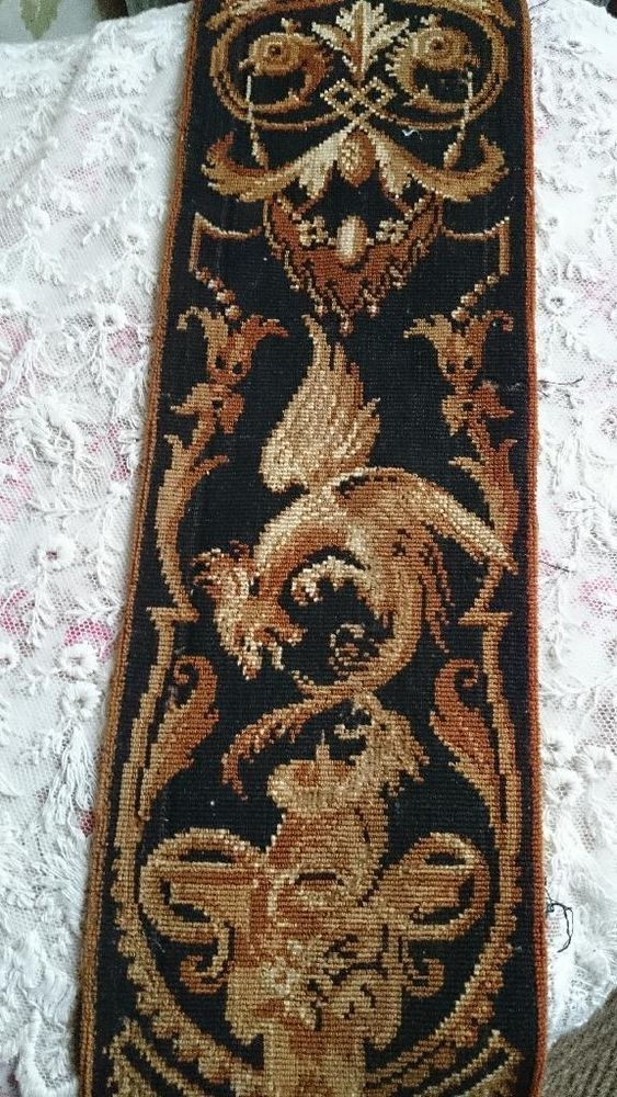 FABULOUS ANTIQUE FRENCH NAPOLEON III CHATEAU TAPESTRY BORDER GRIFFINS 19th C