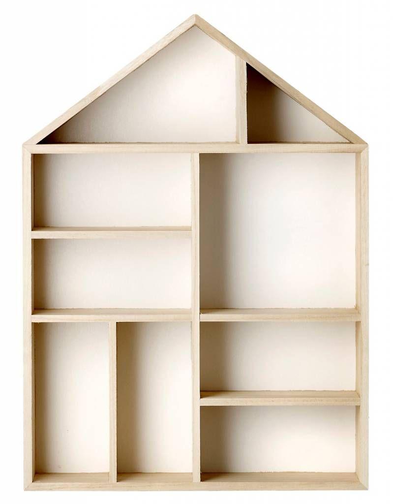 Bloomingville Letterbak in huis vorm, display house hout fineer ...