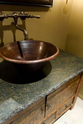 I D Love To Put A New Countertop On Our Bathroom Sink And A Mexican Copper Bowl Sink On Top Rustic Powder Room Bathroom Sink Bowls Powder Room