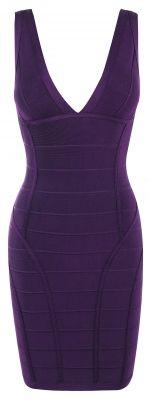 Clothing : Bandage Dresses : 'Jenna' Purple V Neck Bandage Dress
