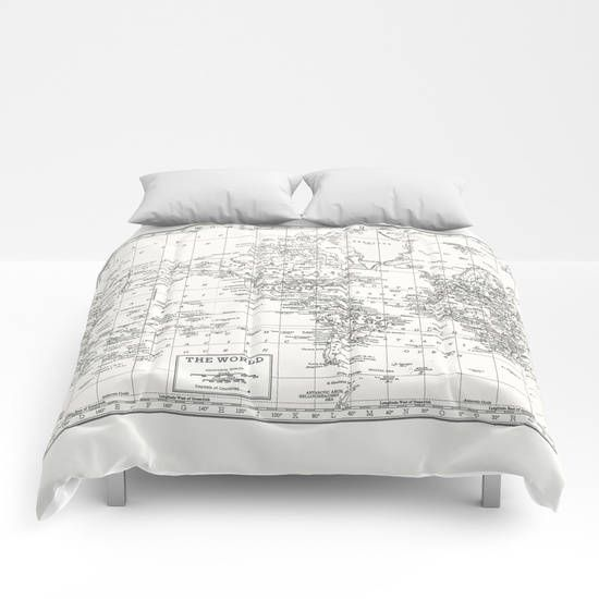White world map duvet cover white and gray bed bedroom travel white world map duvet cover white and gray bed bedroom travel decor cozy soft white winter warm dorm room decor wanderlust gumiabroncs Images
