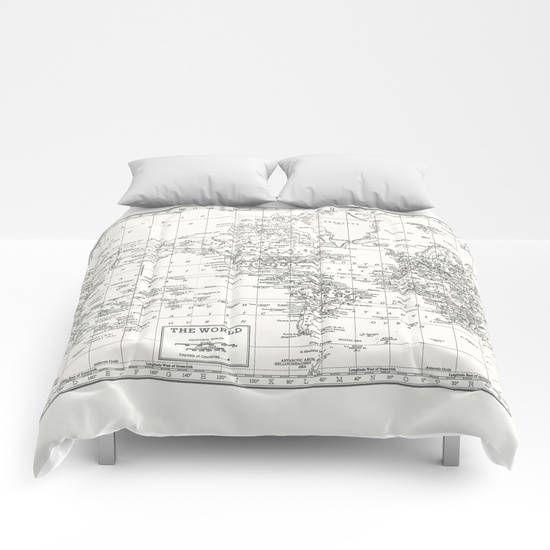 White world map duvet cover white and gray bed bedroom decorate white world map duvet cover white and gray bed bedroom publicscrutiny Images