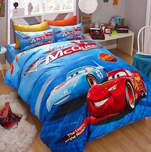 Twin Queen Size Lightning Mcqueen Cars Duvet Cover Bedding Set Boys Blue Ebay